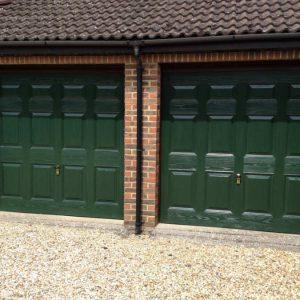 Double green Up & Over Garage Door